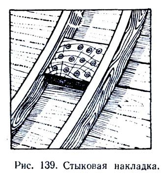 Стыковая накладка на лодке.