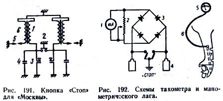Схема тахометра и манометрического лага.