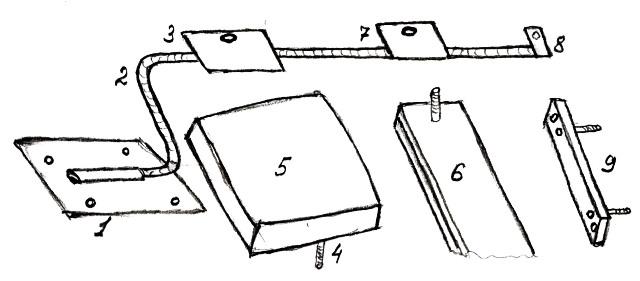 Конструкция крепления транца к резиновой лодке.