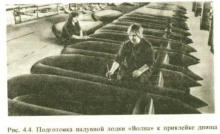 Резиновые лодки в цеху сборки.
