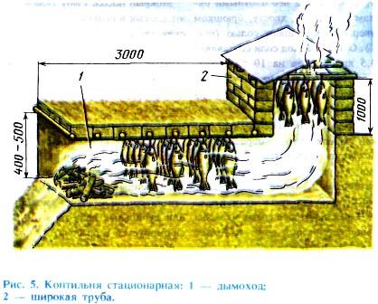 Коптильню для холодного копчения сооружают в наклонном глинистом берегу.  Роют дымоход (канаву) длиной...