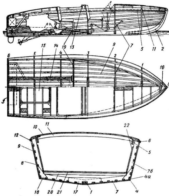 Конструкция и чертеж быстроходного катера.